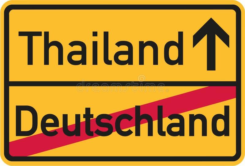 Αποδημία από τη Γερμανία στην Ταϊλάνδη - γερμανικό σημάδι ελεύθερη απεικόνιση δικαιώματος