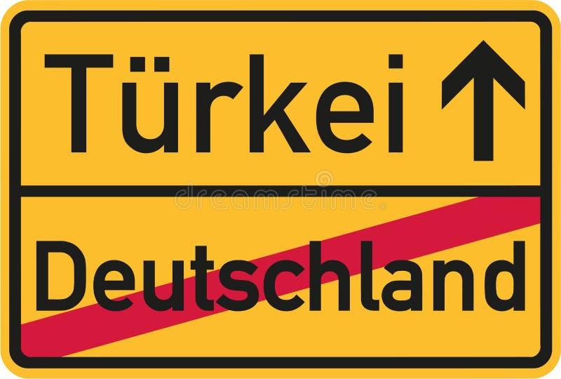 Αποδημία από τη Γερμανία στην Τουρκία - γερμανικό σημάδι ελεύθερη απεικόνιση δικαιώματος