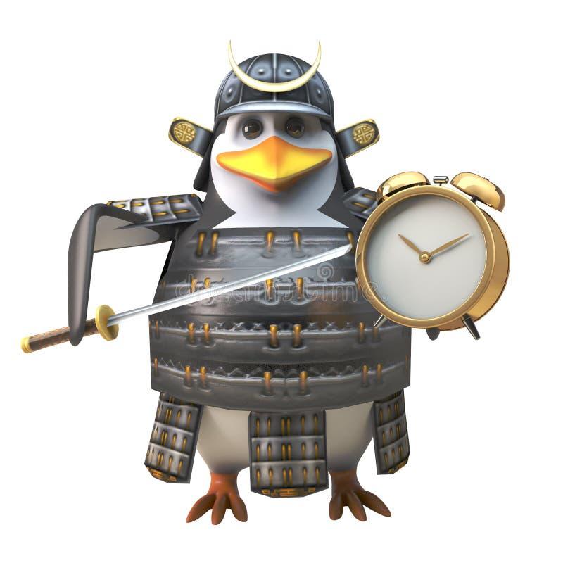 Αποδοτικός πολεμιστής Σαμουράι penguin στο τεθωρακισμένο που θέτει το ξυπνητήρι του για το πρωί, τρισδιάστατη απεικόνιση διανυσματική απεικόνιση