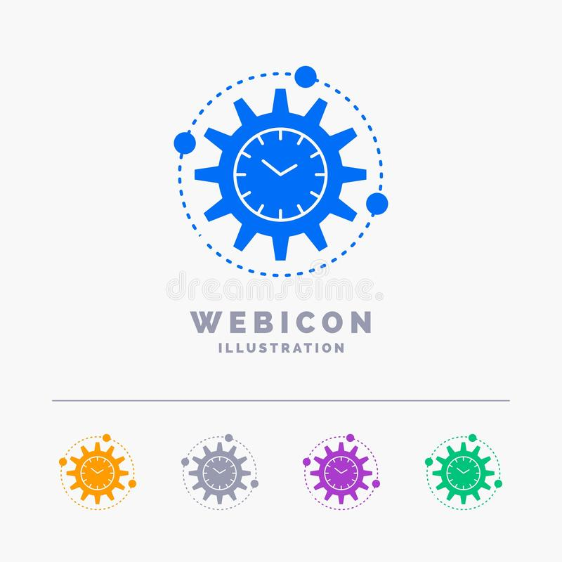 Αποδοτικότητα, διαχείριση, επεξεργασία, παραγωγικότητα, πρόγραμμα 5 πρότυπο εικονιδίων Ιστού Glyph χρώματος που απομονώνεται για  απεικόνιση αποθεμάτων