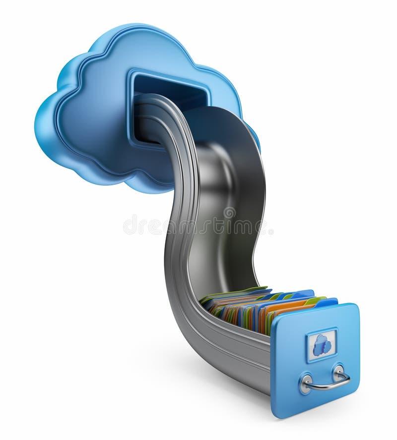 Αποθήκευση αρχείων στο σύννεφο. εικονίδιο που απομονώνεται τρισδιάστατο απεικόνιση αποθεμάτων