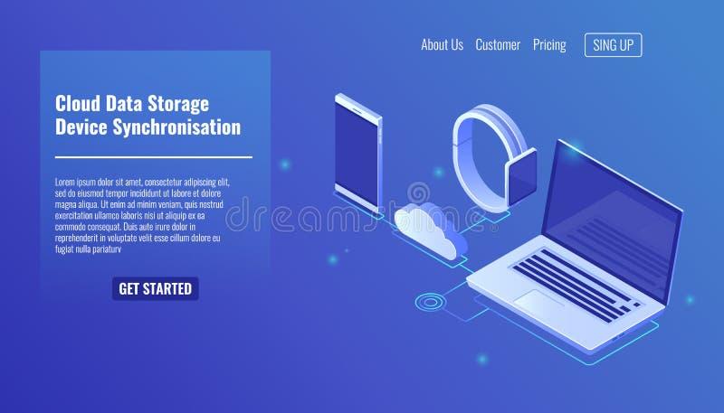 Αποθήκευση κεντρικών υπολογιστών στοιχείων σύννεφων, συγχρονισμός στοιχείων ηλεκτρονικών συσκευών, κινητό τηλεφωνικό smartphone,  διανυσματική απεικόνιση