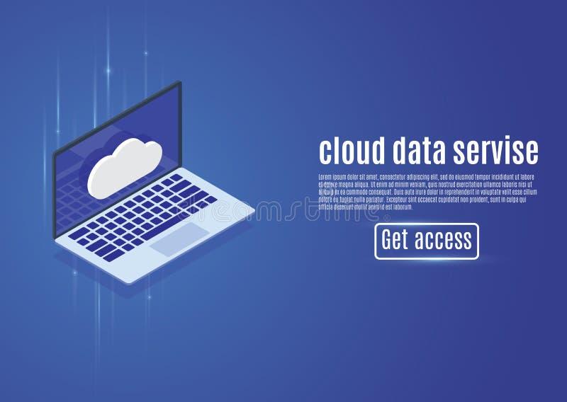 Αποθήκευση στοιχείων σύννεφων, φιλοξενία Ιστού, isometric διανυσματική απεικόνιση κεντρικών υπολογιστών σε ένα μπλε υπόβαθρο Υπολ ελεύθερη απεικόνιση δικαιώματος