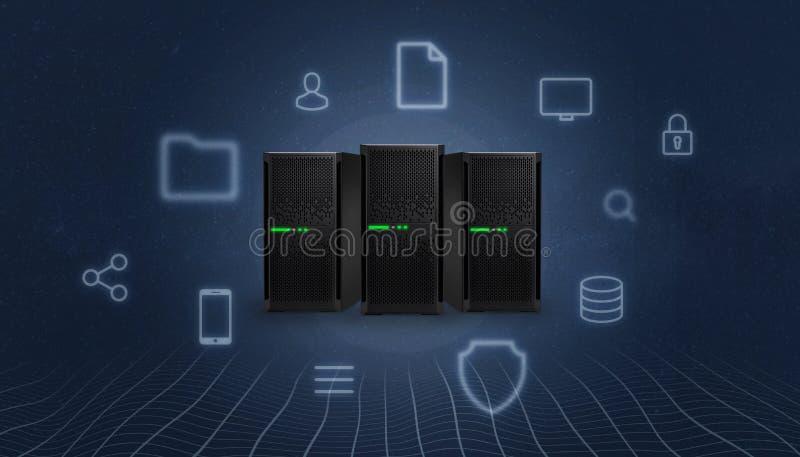 Αποθήκευση, σύννεφο, σταθμός κεντρικών υπολογιστών που περιβάλλεται με τα εικονίδια υπηρεσιών Διαδικτύου έννοιας ελεύθερη απεικόνιση δικαιώματος