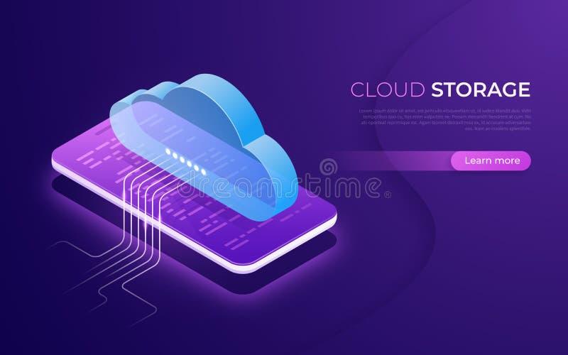 Αποθήκευση σύννεφων και τεχνολογία, φιλοξενία Ιστού, εφεδρική isometric έννοια στοιχείων διανυσματική απεικόνιση