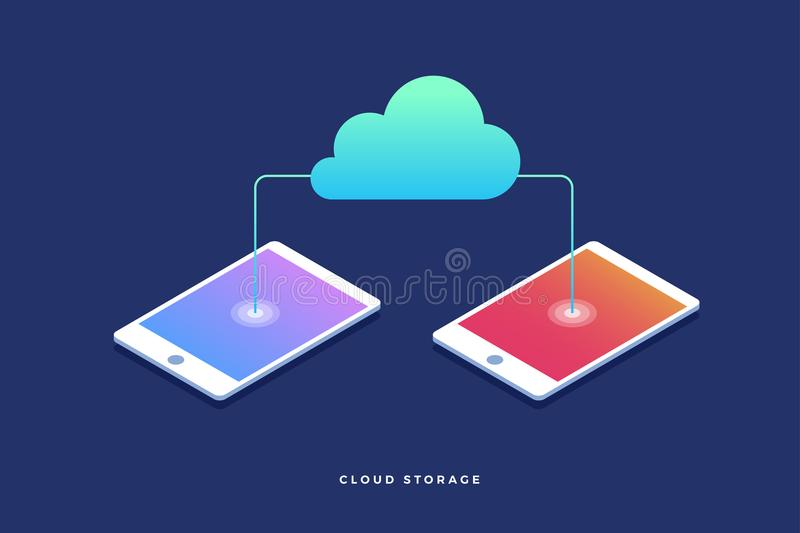 Αποθήκευση σύννεφων, μεταφορές δεδομένων στο διαδίκτυο από τη συσκευή στη συσκευή τρισδιάστατο isometric επίπεδο σχέδιο ελεύθερη απεικόνιση δικαιώματος