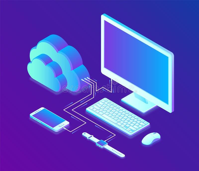 Αποθήκευση σύννεφων Isometric έννοια τεχνολογίας υπολογισμού σύννεφων με τον υπολογιστή, το smartphone και τα έξυπνα εικονίδια ρο διανυσματική απεικόνιση