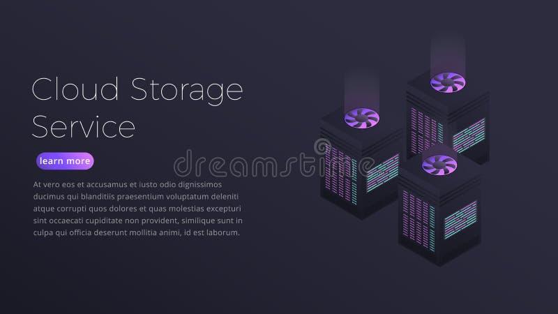 Αποθήκευση σύννεφων Isometric απεικόνιση του Ιστού που φιλοξενεί τους φουτουριστικούς κεντρικούς υπολογιστές Σχέδιο σελίδων προσγ απεικόνιση αποθεμάτων