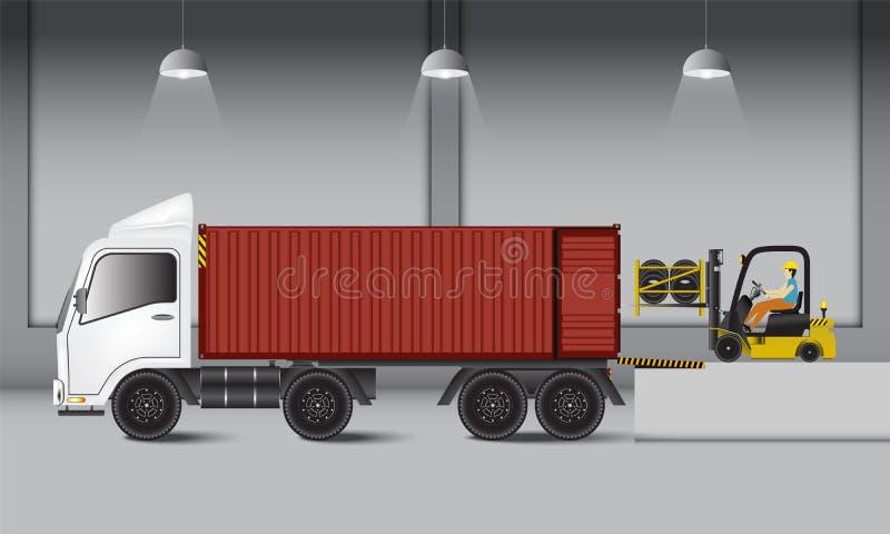 Αποθήκη εμπορευμάτων διοικητικών μεριμνών και αποβάθρα φόρτωσης, λαστιχένιο transportati ροδών διανυσματική απεικόνιση