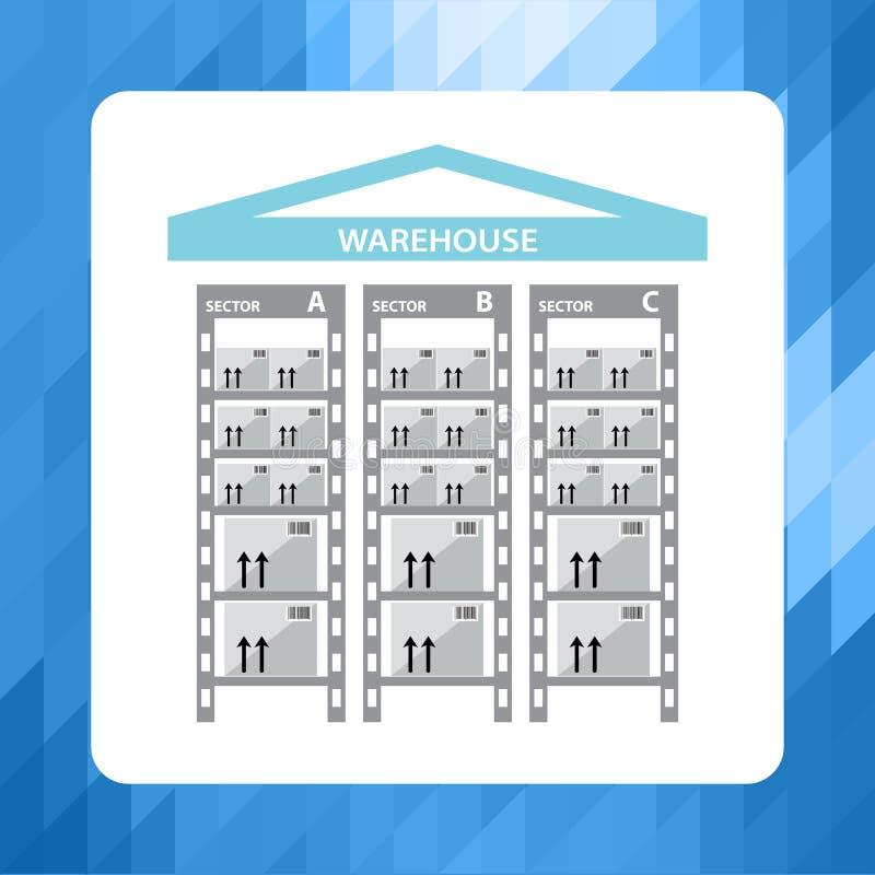 Αποθήκη εμπορευμάτων εικονιδίων Ράφια με τα κιβώτια διανυσματική απεικόνιση