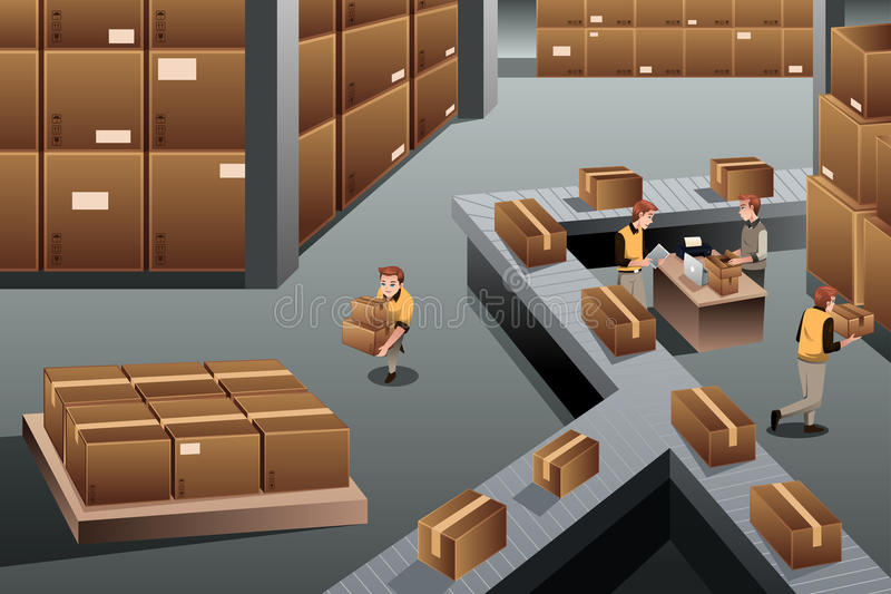 Αποθήκη εμπορευμάτων διανομής διανυσματική απεικόνιση