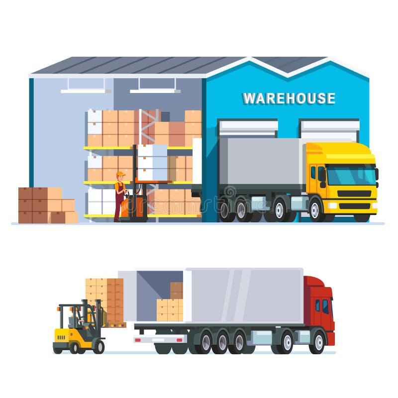 Αποθήκη εμπορευμάτων διοικητικών μεριμνών με το φορτηγό φόρτωσης απεικόνιση αποθεμάτων