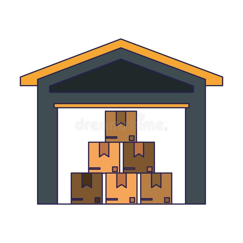 Αποθήκη εμπορευμάτων με τα κιβώτια μέσα ελεύθερη απεικόνιση δικαιώματος