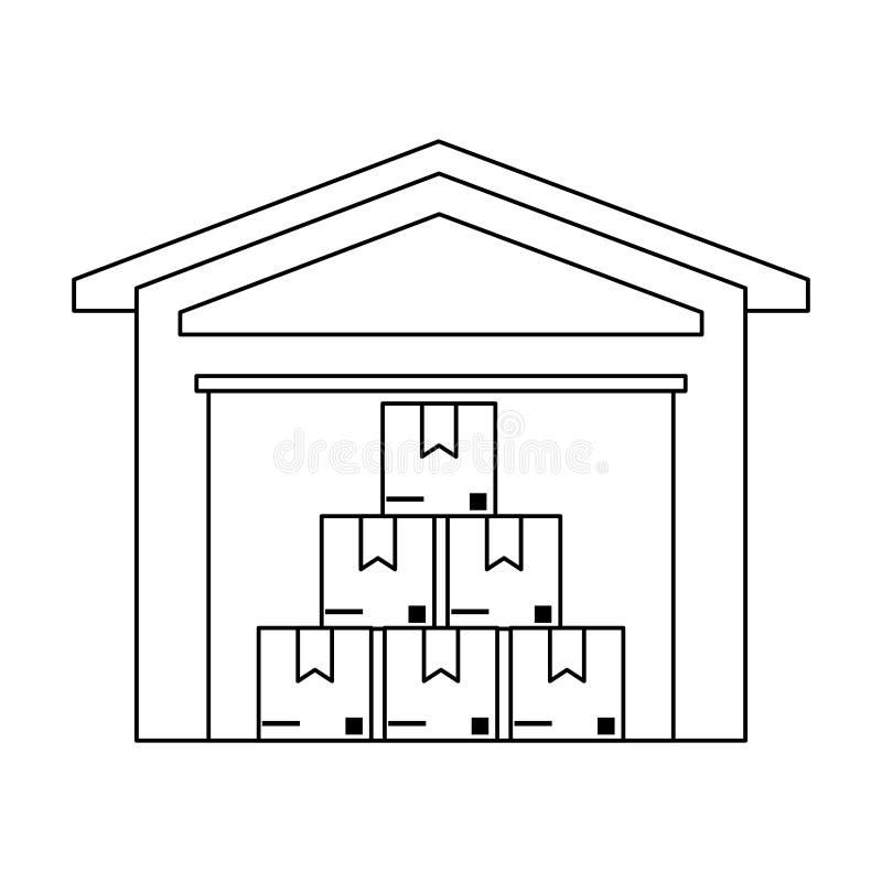 Αποθήκη εμπορευμάτων με τα κιβώτια μέσα διανυσματική απεικόνιση