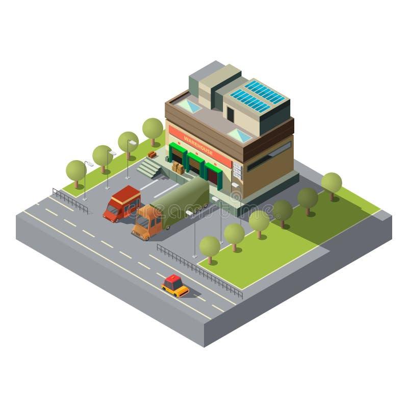 Αποθήκη εμπορευμάτων με το τρισδιάστατο isometric διάνυσμα αυτοκινήτων φορτίου ελεύθερη απεικόνιση δικαιώματος