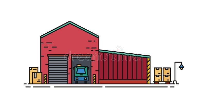 Αποθήκη εμπορευμάτων που χτίζεται τούβλινου με τις πόρτες κυλίνδρων και του οχήματος που στέκεται μέσα στην αποβάθρα φόρτωσης Εμπ απεικόνιση αποθεμάτων