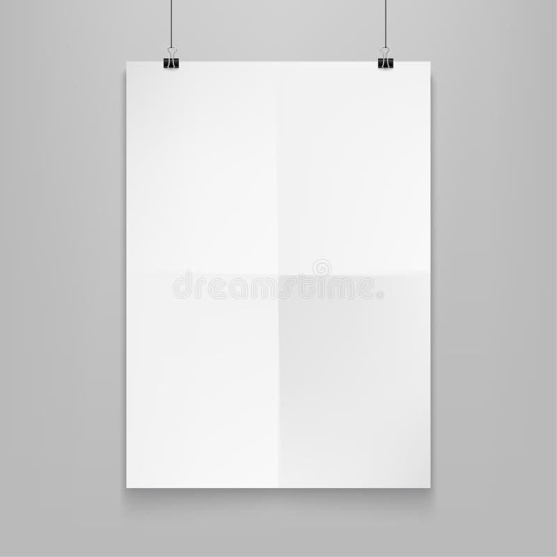 Αποθεμάτων διανυσματικός άσπρος οριζόντιος αφισών προτύπων απεικόνισης ρεαλιστικός Απομονωμένος σε μια γκρίζα ανασκόπηση EPS10 διανυσματική απεικόνιση
