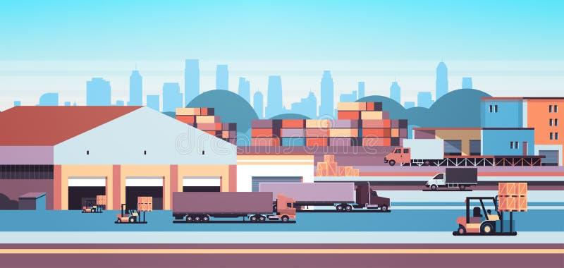 Αποθηκών εμπορευμάτων βιομηχανική εμπορευματοκιβωτίων ημι ρυμουλκών φόρτωσης φορτίου έννοια παράδοσης φορτίου υπαίθρια διεθνής ορ ελεύθερη απεικόνιση δικαιώματος