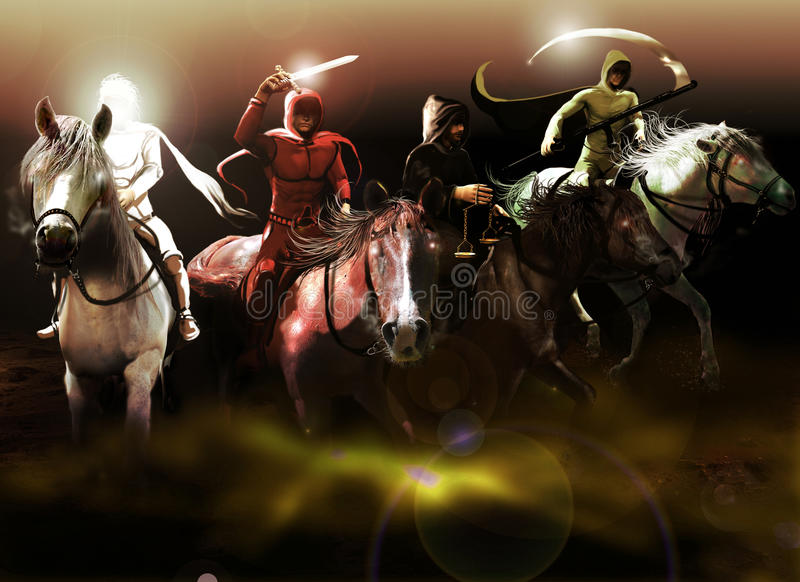 αποκάλυψη τέσσερα ιππείς στοκ εικόνες