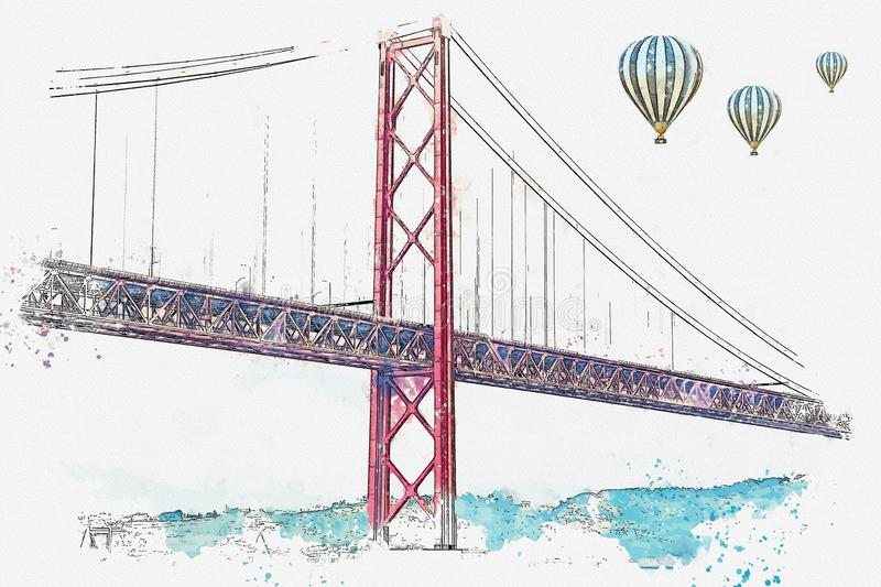 Αποκαλούμενο γέφυρα στις 25 Απριλίου απεικόνισης στη Λισσαβώνα στην Πορτογαλία απεικόνιση αποθεμάτων