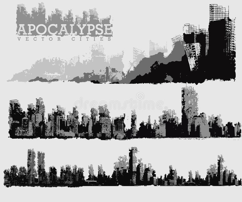 Αποκαλυπτική απεικόνιση πόλεων διανυσματική απεικόνιση