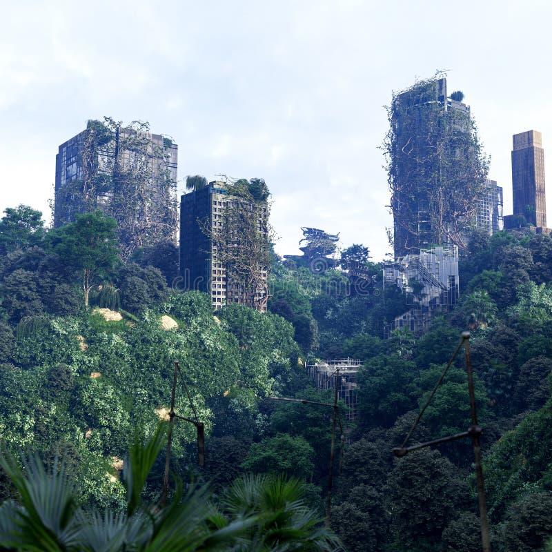 Αποκαλυπτικό υπόβαθρο έννοιας της φουτουριστικής και εγκαταλειμμένης πόλης στοκ φωτογραφία