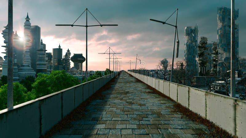 Αποκαλυπτικό υπόβαθρο έννοιας της φουτουριστικής πόλης ελεύθερη απεικόνιση δικαιώματος
