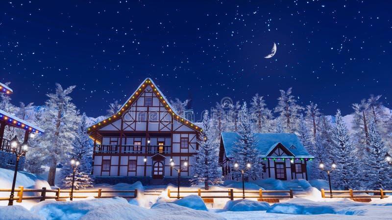 Αποκλεισμένο από τα χιόνια αλπικό ορεινό χωριό στη χειμερινή νύχτα ελεύθερη απεικόνιση δικαιώματος