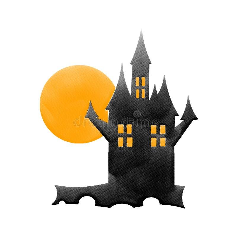 Αποκριές ένα μαύρο κάστρο και πορτοκαλί φεγγάρι, εικόνα ζωγραφικής υδατοχρώματος στοκ φωτογραφία