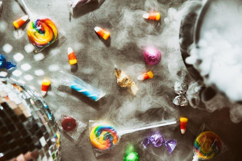 Αποκριές: Διασκέδαση και εορταστικό υπόβαθρο διακοπών με την καραμέλα στοκ εικόνα με δικαίωμα ελεύθερης χρήσης