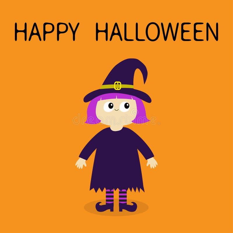 αποκριές ευτυχείς Κορίτσι που φορά το καπέλο μπουκλών κοστουμιών μαγισσών Μαγικός χαρακτήρας απόκοσμων μωρών κινούμενων σχεδίων α ελεύθερη απεικόνιση δικαιώματος