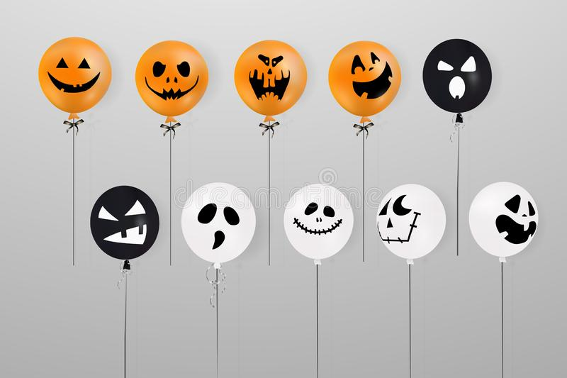 αποκριές ευτυχείς Μέγα σύνολο πετάγματος λαμπρών, μπαλονιών διακοπών Τρομακτικό μπαλόνι αέρα Μεγάλο σύνολο φαντάσματος αποκριών διανυσματική απεικόνιση