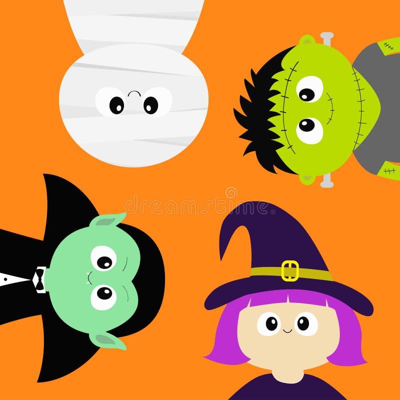 αποκριές ευτυχείς Μούμια, αρίθμηση Dracula βαμπίρ, whitch καπέλο, zombie στρογγυλό σύνολο εικονιδίων σωμάτων προσώπου επικεφαλής  απεικόνιση αποθεμάτων