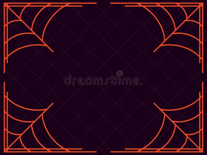 αποκριές ευτυχείς Πλαίσιο με τους ιστούς αράχνης background colors holiday red yellow διάνυσμα απεικόνιση αποθεμάτων