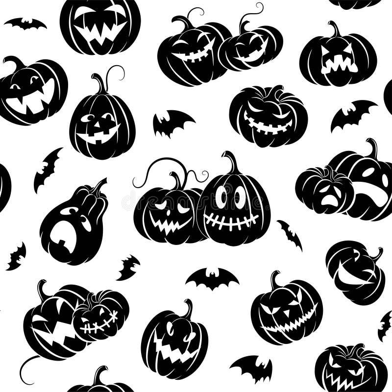 Αποκριές Καθορισμένα τρομακτικά κολοκύθες και ρόπαλα Σκιαγραφία που απομονώνεται μαύρη r διανυσματική απεικόνιση