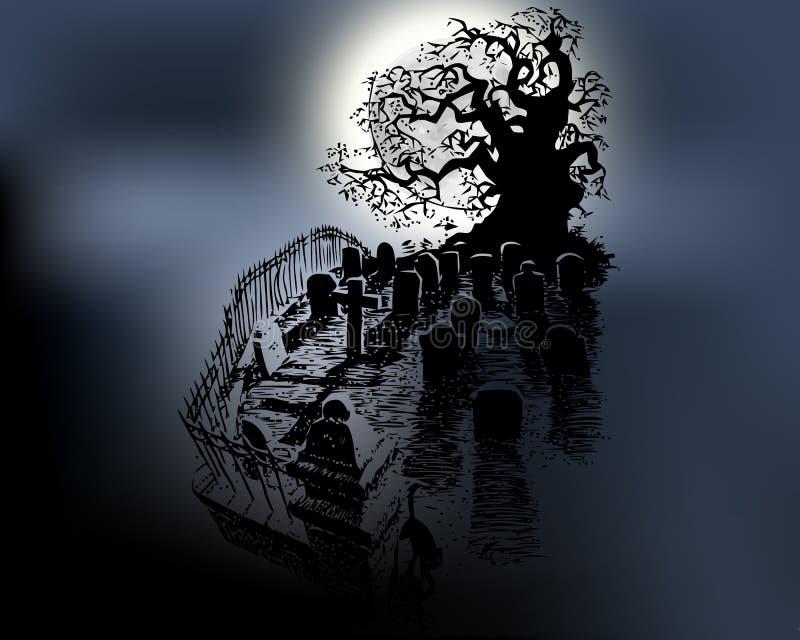 Αποκριές και σκοτεινό δέντρο με το νεκροταφείο στο ελαφρύ άσπρο φεγγάρι επίσης corel σύρετε το διάνυσμα απεικόνισης ελεύθερη απεικόνιση δικαιώματος