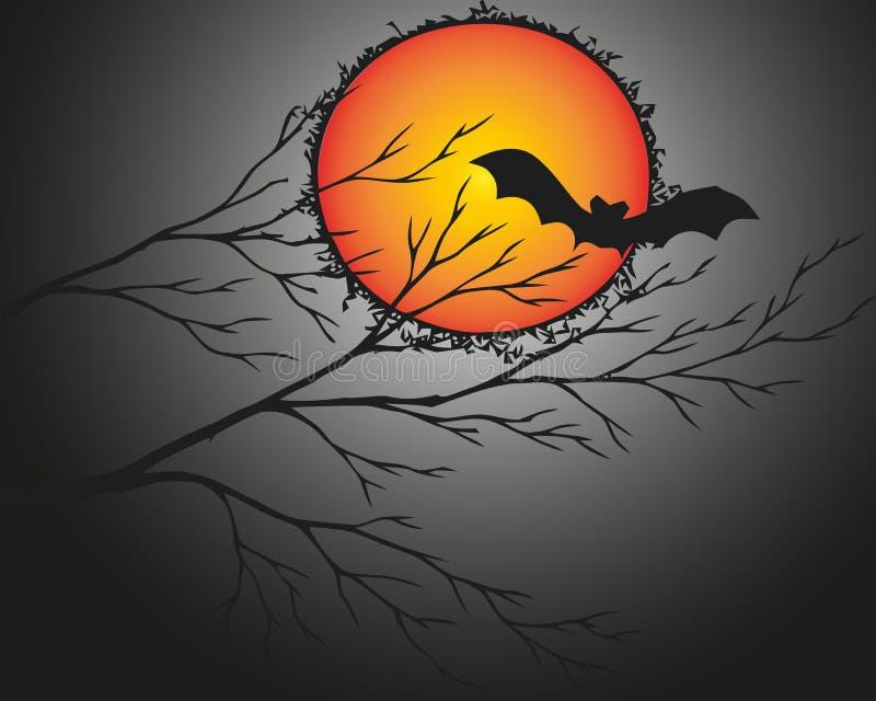 Αποκριές και σκοτεινό δέντρο με το ρόπαλο στο ελαφρύ κόκκινος-πορτοκαλί φεγγάρι επίσης corel σύρετε το διάνυσμα απεικόνισης απεικόνιση αποθεμάτων