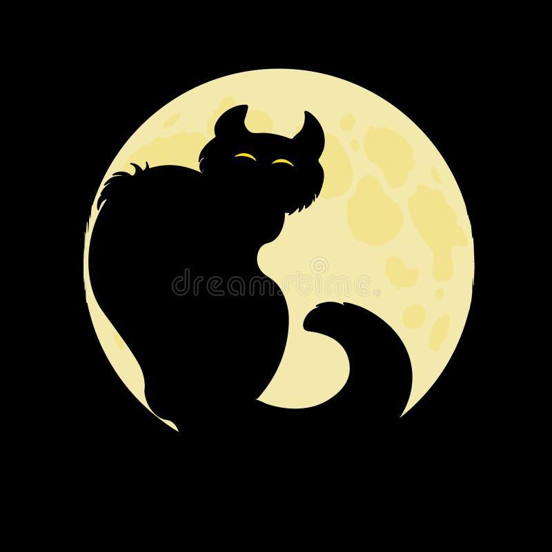 αποκριές Μαύρη γάτα στο υπόβαθρο της πανσελήνου στοκ φωτογραφίες με δικαίωμα ελεύθερης χρήσης