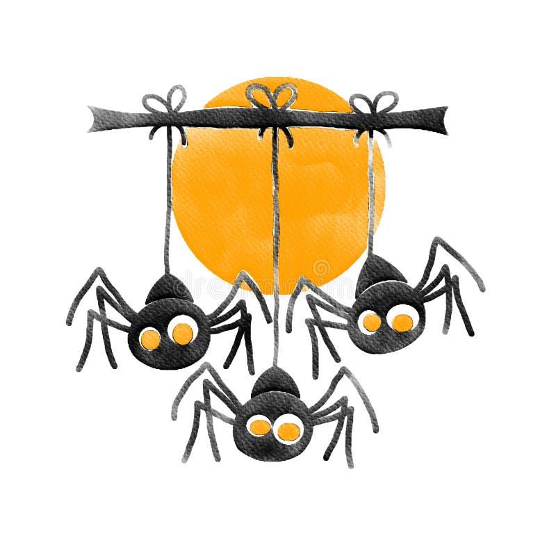 Αποκριές τρία μαύρη αράχνη και πορτοκαλί φεγγάρι, εικόνα ζωγραφικής υδατοχρώματος στοκ εικόνα με δικαίωμα ελεύθερης χρήσης