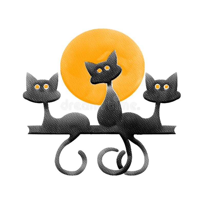 Αποκριές τρία μαύρη γάτα και πορτοκαλί φεγγάρι, εικόνα ζωγραφικής υδατοχρώματος στοκ εικόνες