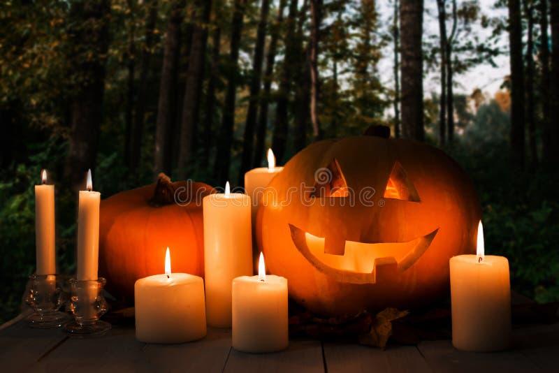 Αποκριές, τρομακτικά ξύλα τη νύχτα, πορτοκαλής λαμπτήρας Jack κολοκύθας στον πίνακα, στοκ φωτογραφία με δικαίωμα ελεύθερης χρήσης