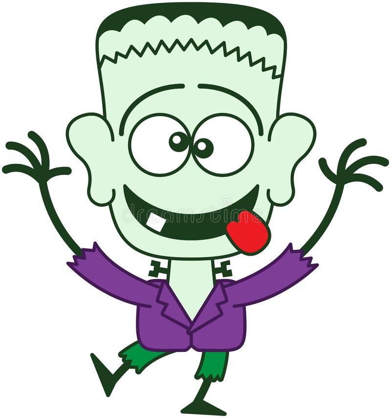Αποκριές Frankenstein που κάνουν τα αστεία πρόσωπα διανυσματική απεικόνιση