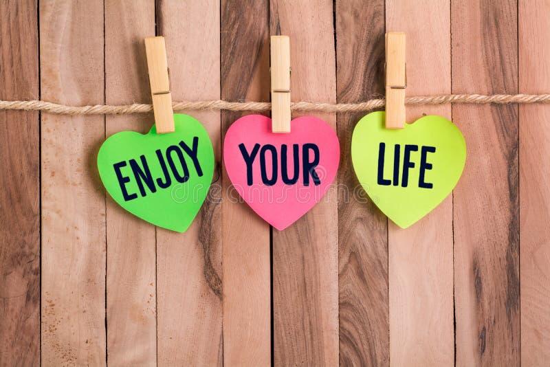 Απολαύστε διαμορφωμένη την καρδιά σημείωση ζωής σας στοκ φωτογραφία