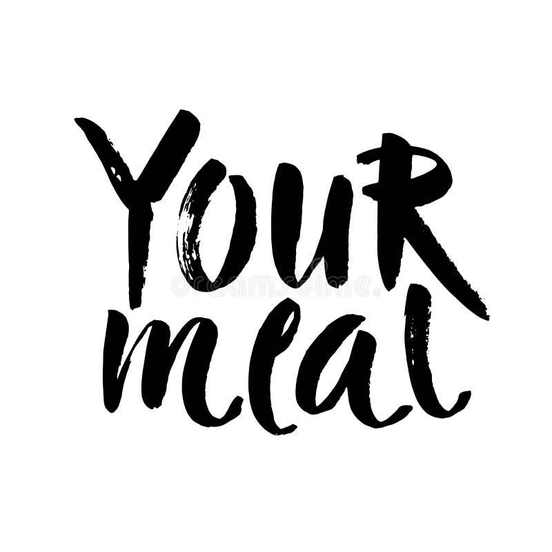 απολαύστε το γεύμα σας Συρμένη χέρι φράση εγγραφής που απομονώνεται στο άσπρο υπόβαθρο Στοιχείο σχεδίου για την αφίσα, κάρτα διάν διανυσματική απεικόνιση