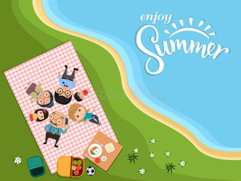 Απολαύστε το καλοκαίρι, ευτυχές οικογενειακό πικ-νίκ στο υπαίθριο σύγχρονο επίπεδο ύφος κατά την πράσινη τοπ άποψη λιβαδιών r διανυσματική απεικόνιση