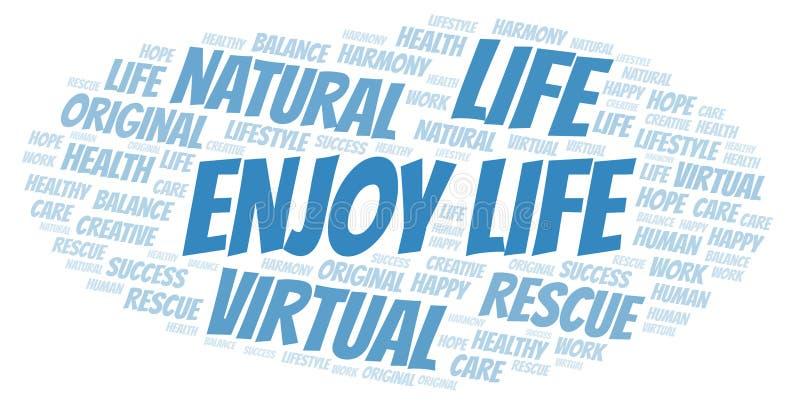Απολαύστε το σύννεφο λέξης ζωής διανυσματική απεικόνιση