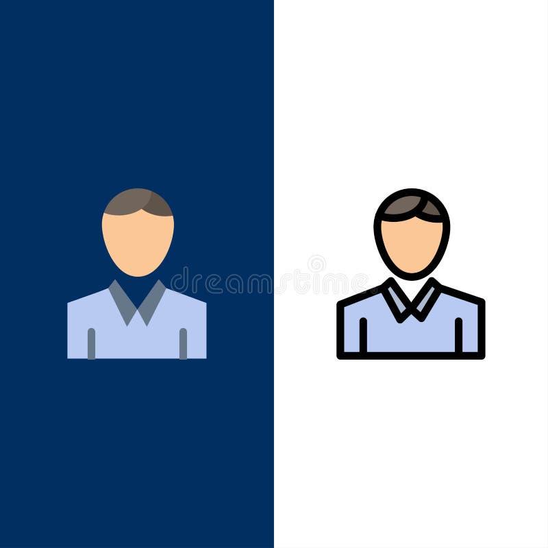 Απολογισμός, άνθρωπος, άτομο, εικονίδια προσώπων Επίπεδος και γραμμή γέμισε το καθορισμένο διανυσματικό μπλε υπόβαθρο εικονιδίων απεικόνιση αποθεμάτων