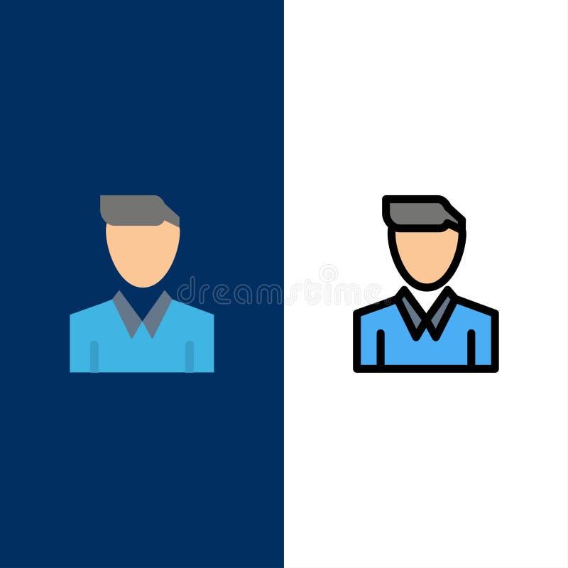 Απολογισμός, άνθρωπος, άτομο, πρόσωπο, εικονίδια σχεδιαγράμματος Επίπεδος και γραμμή γέμισε το καθορισμένο διανυσματικό μπλε υπόβ διανυσματική απεικόνιση