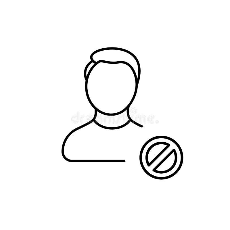 Απολογισμός, απαγόρευση, φραγμός, αγόρι, άτομο, σχεδιάγραμμα, εικονίδιο χρηστών διανυσματική απεικόνιση
