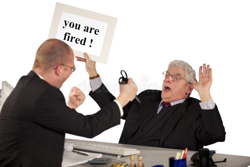 Απολυθείς επιτιθειμένος ανώτερος διευθυντής υπαλλήλων στοκ φωτογραφία με δικαίωμα ελεύθερης χρήσης